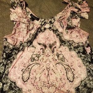 Inc pink flutter sleeve tank top